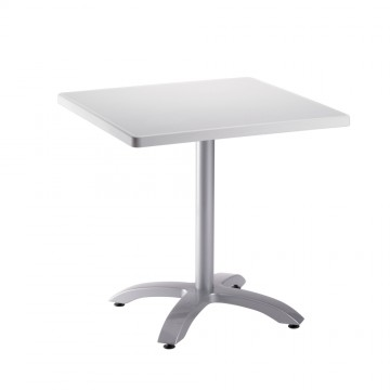 Table ecofix 70x70 blanc pied aluminium for Table exterieur 70x70